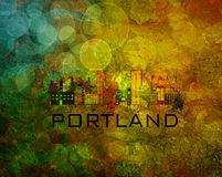 Portland City Skyline on Grunge Background Illustration vector illustration