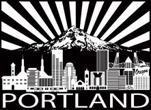 Portland City Skyline and Mount Hood Black White vector Illustration Stock Photography