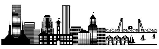 Portland City Skyline Panorama Clip Art. Portland City Skyline Oregon Panorama Black and White Silhouette Clip Art Illustration Stock Images