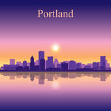 Portland city skyline silhouette background Stock Photography