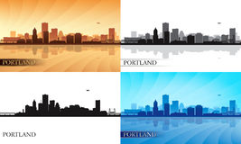 Portland city skyline silhouettes set Stock Images
