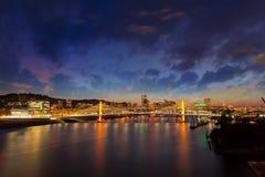 Portland OR City Skyline by Tilikum Crossing at night Stock Image