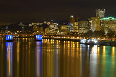 Portland City Skyline by Waterfront at Night Royalty Free Stock Photos