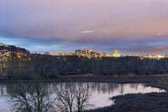 Portland City Skyline and Wildlife Refuge Stock Photo