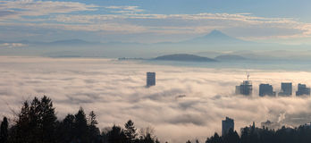 Portland Cityscape Covered in Morning Fog Stock Photos