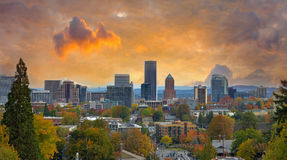 Portland Cityscape in Fall Royalty Free Stock Images