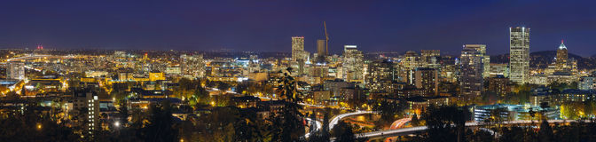 Portland Cityscape and Freeway at Blue Hour Panorama Stock Photos