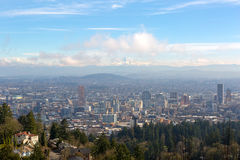 Portland Cityscape with Mt Hood Daytime View Stock Image