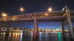 Portland Cityscape Time Lapse Dusk. V17. Portland cityscape dusk time lapse with view of Marquam bridge stock video