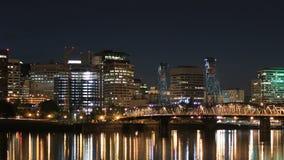 Portland Cityscape Time Lapse Dusk Zoom stock video footage