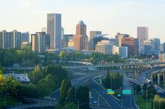 Portland Cityscape View from Aerial Tram stock images