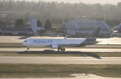 Portland, OR - December 2017: Prime Air Boeing 767 operated by Atlas Air lining up for the runway before takeoff royalty free stock images