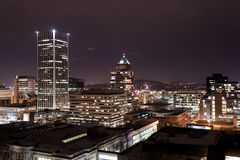 Portland del centro alla notte Fotografia Stock