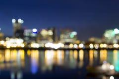 Portland del centro dalle luci della città del fuoco Fotografie Stock Libere da Diritti