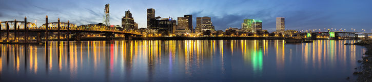Portland Downtown Along Willamette River at Blue Hour Royalty Free Stock Images