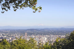 Portland Downtown City Landscape with Mount Hood Stock Photography