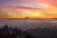 Portland Downtown Cityscape at Dawn Royalty Free Stock Photo