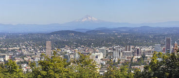 Portland Downtown Cityscape Mount Hood Panorama Royalty Free Stock Photo