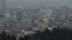 Portland OR Downtown Cityscape with Mount Hood at Sunset with Heavy Thick Fog Panning Expansive View 1080p. Portland OR Downtown Cityscape with Mount Hood at stock footage