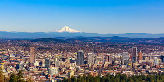 Portland Downtown Cityscape with Mt Hood. Portland Oregon Downtown Cityscape in the Fall colors, with Mt Hood in the background Royalty Free Stock Photos