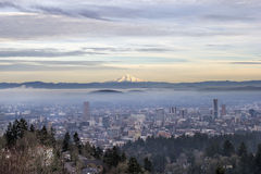 Portland Downtown Foggy Cityscape Stock Image