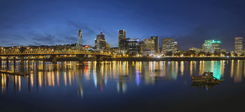 Portland Downtown with Hawthorne Bridge at Blue Hour Royalty Free Stock Photo
