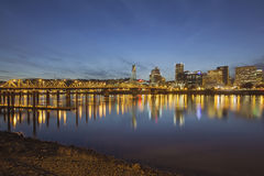 Portland Downtown with Hawthorne Bridge at Dusk Royalty Free Stock Images