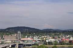 Portland Downtown with Mount Hood Stock Photo