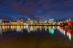 Portland Downtown Skyline and Bridges at Twilight Royalty Free Stock Photo