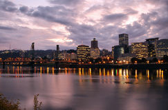 Portland Downtown Skyline at Dusk. By Willamette River Royalty Free Stock Photo