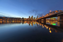 Portland Downtown Skyline by Hawthorne Bridge at Blue Hour Royalty Free Stock Images