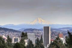 Portland Downtown Skyline Mount Hood. Portland Oregon Downtown Skyline with Mount Hood View Royalty Free Stock Photos