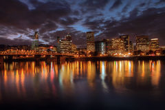 Portland Downtown Skyline at Night Royalty Free Stock Image
