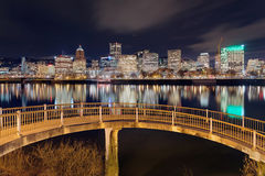 Portland Downtown Skyline from Pedestrian Bridge Stock Photography