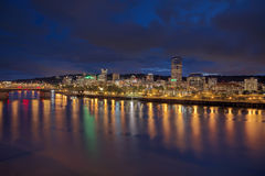 Portland Downtown Skyline at Twilight Royalty Free Stock Photos