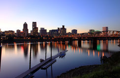 Portland OR at dusk. Royalty Free Stock Photography