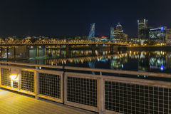 Portland Eastbank Esplanade Waterfront at Night Stock Photo