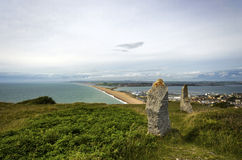 Portland et plage de Chesil photo stock