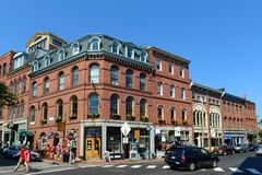 Portland Fore Street at Old Port , Maine, USA. Portland Old Port is filled with 19th century brick buildings and is now the commercial center of the city Royalty Free Stock Photography