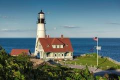 Portland gehen Licht bei Sonnenuntergang im Kap Elizabeth, Maine, USA voran stockbilder