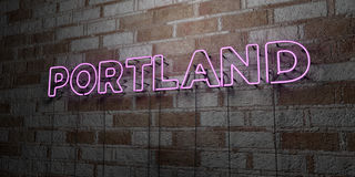 PORTLAND - Glowing Neon Sign on stonework wall - 3D rendered royalty free stock illustration Royalty Free Stock Photography