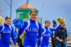 Portland Grand Floral Parade 2018. Portland, Oregon, USA - June 9, 2018: Aloha High School Marching Band in the Grand Floral Parade, during Portland Rose stock image