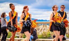 Portland Grand Floral Parade 2016. Portland, Oregon, USA - June 11, 2016: Battle Ground High School Marching Band in the Grand Floral Parade during Portland Rose stock image