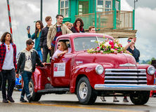 Portland Grand Floral Parade 2017. Portland, Oregon, USA - June 10, 2017: International Youth Silent Film Festival Winners in the Grand Floral Parade, as it Stock Photography