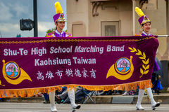 Portland Grand Floral Parade 2017. Portland, Oregon, USA - June 10, 2017: Shu-Te Home Economics & Commercial High School Marching Band in the Grand Floral Parade royalty free stock photos