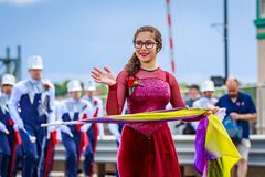 Portland Grand Floral Parade 2018. Portland, Oregon, USA - June 9, 2018: Westview High School Marching Band in the Grand Floral Parade, during Portland Rose stock image