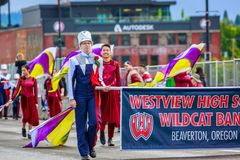 Portland Grand Floral Parade 2018. Portland, Oregon, USA - June 9, 2018: Westview High School Marching Band in the Grand Floral Parade, during Portland Rose royalty free stock photos