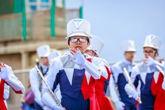 Portland Grand Floral Parade 2018. Portland, Oregon, USA - June 9, 2018: Westview High School Marching Band in the Grand Floral Parade, during Portland Rose stock photo