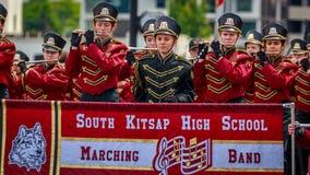 Portland Grand Floral Parade 2018. Portland, Oregon, USA - June 9, 2018: South Kitsap High School Marching Band in the Grand Floral Parade, during Portland Rose royalty free stock photography