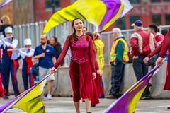 Portland Grand Floral Parade 2018. Portland, Oregon, USA - June 9, 2018: Westview High School Marching Band in the Grand Floral Parade, during Portland Rose stock images
